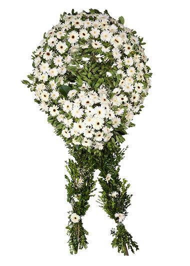 Beyaz simit cenaze çiçeği